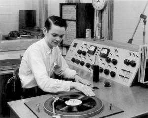 Radio DJ Mixing Vinyl